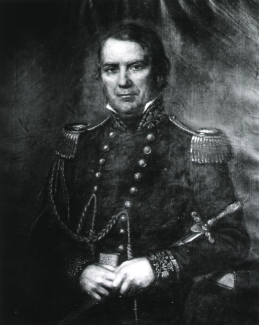 <p>Half-length, left pose, full face; wearing uniform with epaulettes; holding sword.</p>