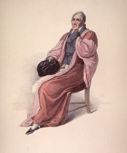 <p>Seated, full length, hand to chin.  Wearing robes; holding hat.</p>