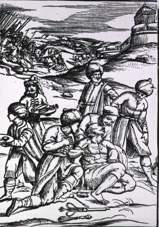 <p>Surgery in the foreground of battle scene; the patient is slumped in the arms of a man as the surgeon extracts the arrow, instruments lie on the ground at his feet; two assistants stand nearby with trays of instruments; two men, wearing turbans, observe.</p>