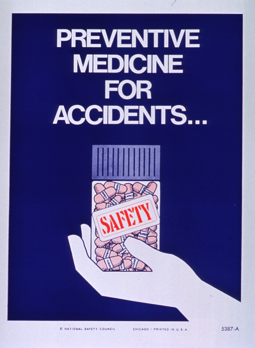 <p>Blue and white poster with multicolor lettering.  Initial title words at top of poster.  Visual image is an illustration of a hand holding a bottle of capsules.  The bottle is labeled with remaining title word.  Publisher information at bottom of poster.</p>