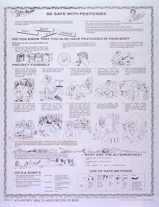 <p>White poster with black lettering.  Title at top of poster.  Visual images are illustrations depicting safety measures when dealing with pesticides. These safety measures include washing, wearing long clothing and gloves, using fresh water sources, not entering sprayed areas, etc.  Text also describes alternatives to pesticide use.  Publisher information at bottom of poster.</p>