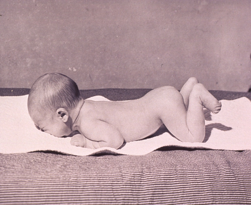 <p>Newborn infant lying on its stomach on a blanket.</p>