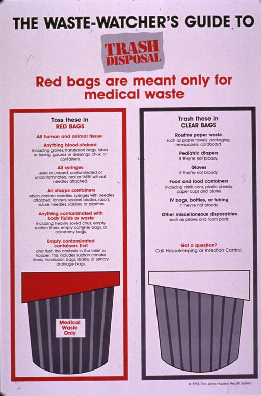 <p>Predominantly white poster with black and red lettering.  Title and note at top of poster.  Visual images are illustrations of waste baskets.  One has a red liner and the other has a white liner.  Text above each basket describes the type of trash appropriate for each container.  All tissue, sharp objects, and equipment that has come in contact with body fluids are to be kept apart from regular trash.  Publisher information in lower right corner.</p>