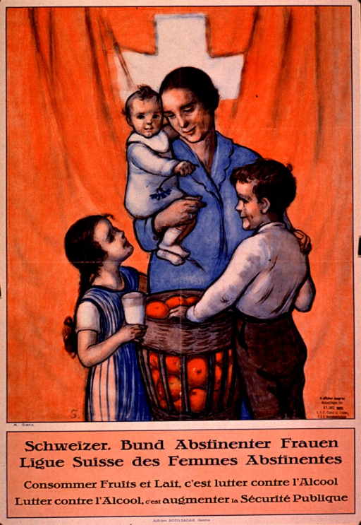 <p>Predominantly pale red poster with blue and black lettering.  Visual image is an illustration of a mother and three children.  The group stands in front of a Swiss flag.  The mother holds an infant; a daughter holds a glass of milk and a son reaches into a basket of apples.  A stamp allowing the poster to be displayed on trains until Dec. 31, 1933 in lower right corner of illustration.  Title and caption below illustration.  Caption states that consuming fruits and milk is the fight against alcohol and the fight against alcohol promotes public security.</p>