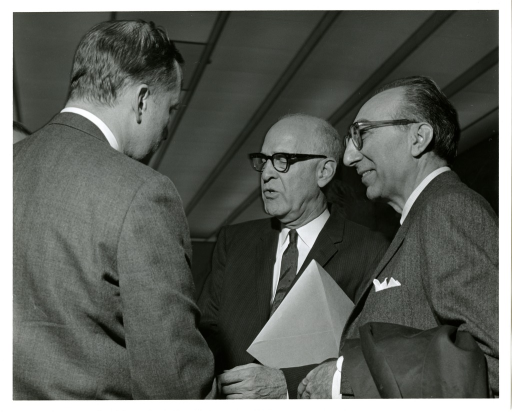 <p>From left to right, Senator Charles &quot;Mac&quot; Mathias, Senator Joseph Lister Hill and Dr. Michael DeBakey at the National Library of Medicine Dedication Ceremony.</p>