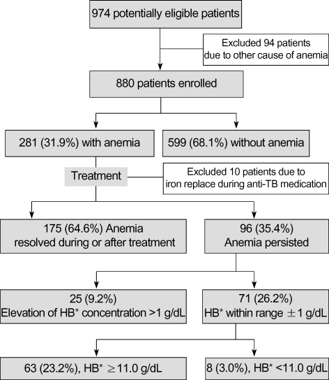 Prevalence and evolution of anemia in 892 patients with TB. *hemoglobin.