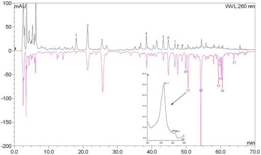 The HPLC results of tubers and fibrous roots of B. striata.The black and red curve represent for PSP (15 µL injection) and FRP (5 µL injection) 95% ethanol extract, respectively. Peak marked was identified as the same compound both existed in PSP and FRP by UV-VIS spectrum.