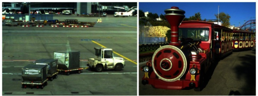 Examples of multi-trailer systems: Baggage carriers in an airport (left) and a tourist road train (right).