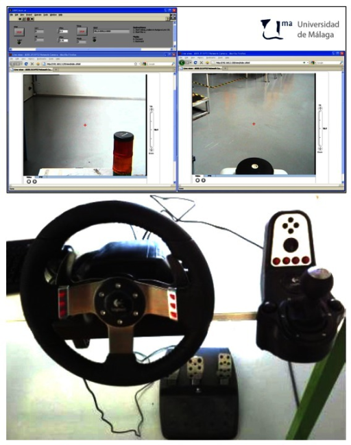 ADAS Driver Interface: Dashboard display screen capture (top), and drive-by-wire controls (bottom).