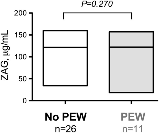 Plasma ZAG concentration in CKD-5 patients with a diagnostic of protein-energy wasting.The boxes indicate the range (i.e. min to max) and the line indicate the median. Note that no difference was found to be significant at the P<0.05 level. Abbreviation: PEW, protein-energy wasting.