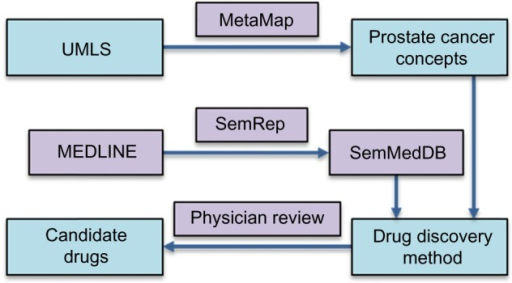 Prostate cancer concepts are found from the UMLS using MetaMap. SemRep extracts semantic predications from the MEDLINE database and stores them in SemMedDB. Predications from SemMedDB are found containing the prostate cancer concepts as objects and genes as subjects and more predications are found that contain drugs as subjects and genes as objects. Additional predications are selected that contain genes as both subject and object. These predications are lined up in either the Drug→Gene→Cancer pathway schema or the Drug→ Gene1→ Gene2→Cancer pathway schema to produce a list of potential drugs and their mechanism of action in treating prostate cancer. A physician selects the best candidates based on the source citations and other relevant knowledge.