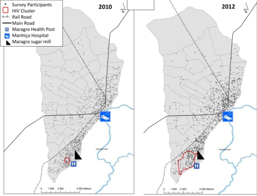 Maps of the 2010 and 2012 Spatial Analysis identifying HIV clusters in Manhiça district.