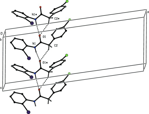 Part of the crystal structure of compound (I) showing the formation of a hydrogen-bonded chain of rings running parallel to the [001] direction. Hydrogen bonds are shown as dashed lines and, for the sake of clarity, the H atoms bonded to the C atoms which are not involved in the motif shown have been omitted. The atoms marked with an asterisk (*) or a hash (#) are at the symmetry positions (x,  − y,  + z) and (x,  − y, − + z), respectively.