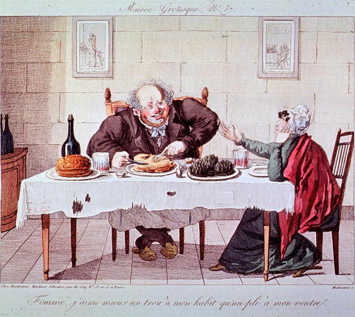 <p>Interior scene: a man and a woman sitting at a table covered with a torn and shabby table cloth, but laden with food and drink.</p>