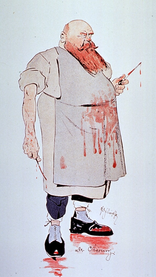 <p>Caricature: a surgeon standing full length, wearing blood splattered apron and shoes; holding surgical instruments.</p>