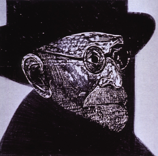 <p>Head and shoulders, right profile, wearing hat, overcoat, and glasses.</p>