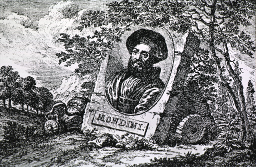 <p>Head and shoulders, left pose, full face; in oval mounted on large stone block which is leaning against stone blocks in a landscape setting; Mondini appears on name plate below oval.</p>