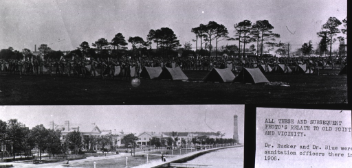 <p>Two images, top: view from a distance of United States Public Health and Marine Service Hospital officers (?) lined up hand-in-hand at arms length in front of rows of pup tents on Lee Parade (?); bottom: view from a distance of waterfront and State Buildings at the Jamestown Ter-Centennial Exposition.</p>