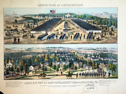 <p>Color print with two views. The upper view depicts a military encampment of two rows of barracks with smaller buildings between them. Additional buildings and tents are on the sides and behind the central compound. Soldiers are marching with bayonettes, riding horses, carrying objects, and standing near the buildings and tents. The lower view depicts a semi-circle of houses with a larger one flanked on each side by two smaller ones. The grounds in front are formally laid out with walkways leading to each of the houses. Auxillary buildings surround the semi-circle.  Groups of soldiers are sitting under trees and marching with bayonettes. There is a key to the buildings in the lower margin.</p>