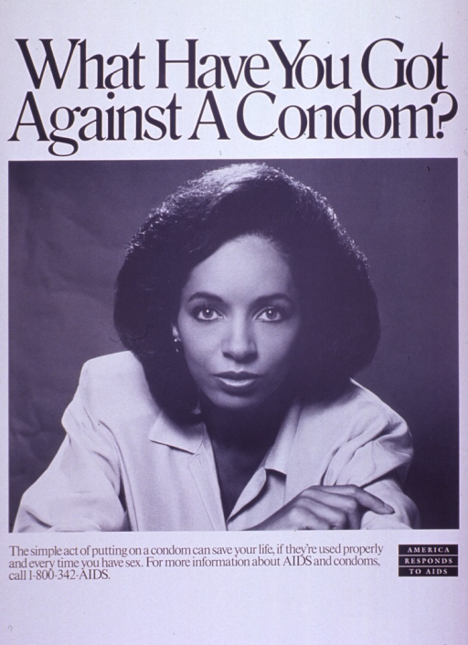 <p>Predominantly white poster with black lettering.  Title at top of poster.  Visual image is a b&amp;w photo reproduction of a woman.  The woman appears to be of African-American heritage.  Caption and note below photo.</p>