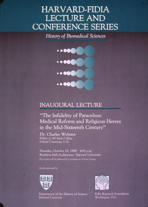 <p>Gray and green poster with white lettering announcing a lecture given Oct. 1988.  Note at top of poster.  Visual image is a rectangular arrangement of dots, which vary in size and color.  Title below image.  Speaker was Charles Webster of Oxford University.  Lecture date and sponsor information below title.</p>