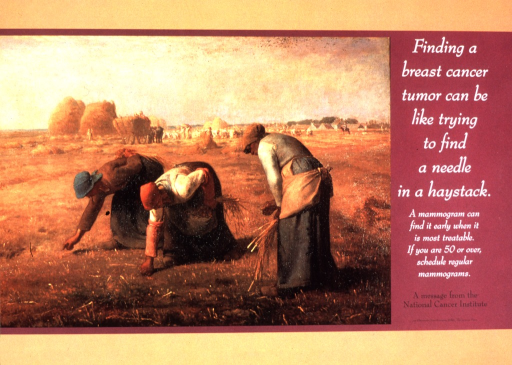 <p>Jean-Francʹois Millet's &quot;Les Glaneuses&quot; is the visual motif to encourage women to schedule regular mammograms.</p>
