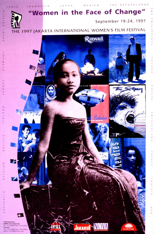 <p>Multicolor poster.  Title at top of poster.  Visual image is a b&amp;w photo of a young woman superimposed on a montage of what appear to be frames from some of the festival movies.  Edges of poster list names of participating countries.  Publisher and sponsor logos at bottom of poster.</p>