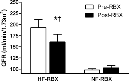 The effect of ruboxistaurin (RBX) on GFR during euglycemia in hyperfiltration and normofiltration subjects (mean ± SEM). HF, hyperfiltration; NF, normofiltration. *P = 0.009 vs. baseline in hyperfiltration subjects. †P = 0.003 vs. response in normofiltration subjects.