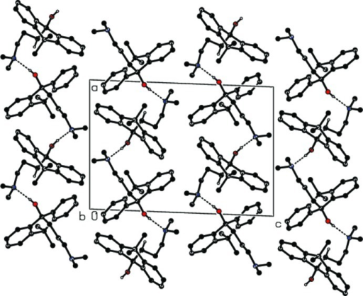 Crystal packing of the title compound, showing the O—H···N hydrogen bonding chains (dashed lines). H atoms not involved in the hydrogen bond interactions are omitted for clarity.