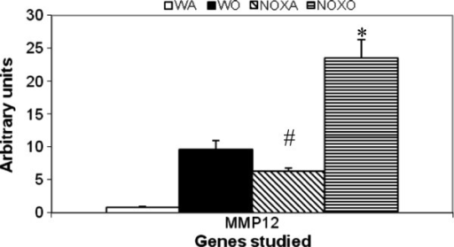 Upregulation of MMP-12 gene in post-OVA in KO lung. Real time PCR analysis was used to quantitate expression of mRNA for the particular genes as calculated by relative index of Ct values normalized to GAPDH by real time PCR. PCR was carried out using the comparative Ct method (Applied Biosystems software) with SYBR Green PCRcore reagents (Applied Biosystems) and anlysed using Applied Biosystems 7900HT Real-Time PCR System software SDS 2.2.1. All primers used were specific to mouse. * denotes p value<0.01 compared to WT+OVA values. # denotes p value<0.01 compared to WT+alum (control baseline values). n=5/group pooled from 2 experiments. Expression of the gene of interest was expressed in relative values normalized to the values obtained for mouse GAPDH. There was 10-fold increase in the gene expression of MMP-12 in OVA-treated WT vs. control WT whereas saline-treated NOX KO lungs showed 6.5-fold increase over untreated control mouse lung. However, post-OVA treatment, NOX KO mouse lung showed MMP-12 shooting up 4.7-fold over untreated KO. # denotes p value <0.01 compared to control untreated, * denotes p value <0.01 compares untreated KO versus OVA-treated KO lung.