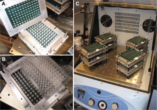 (A) Close-up of the phototransistor (PT) (top) and light-emitting diode (LED) (bottom) arrays. (B) The overall dimensions of the miniaturized reader are slightly larger than those of a standard 96-well plate. (C) Eight miniaturized plate readers stacked in a standard bench top incubator.