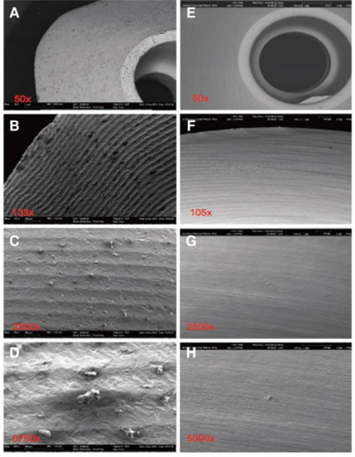 Severely contaminated surface, distinctive and square-edge groove milling at steam-cleaned status (A-D) of sample 1; after ultra-soniccleaning (E-H) clear particle reduction, but residual machining traces.