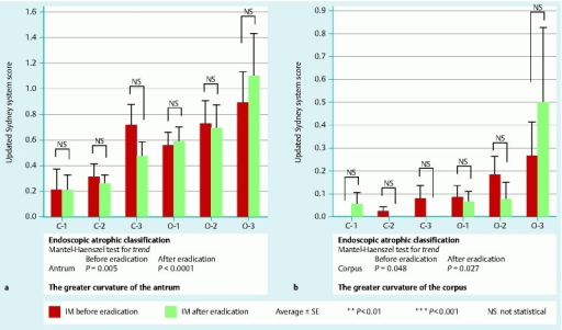 Relationship between endoscopic atrophy scores and histological IM scores before and after H. pylori eradication.Each degree of endoscopic atrophy showed no significant improvement of IM after eradication. Endoscopic atrophy classification showed significant correlation with histological IM at both sites before and after eradication.