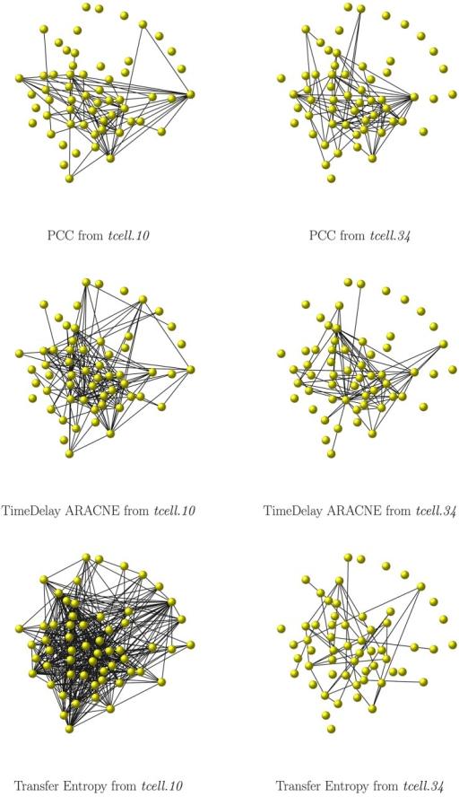 The T-cell example: comparison networks.The Human t-cell network as reconstructed by PCC (top row), TimeDelay ARACNE (middle row) and Transfer Entropy (bottom row), from the tcell.10 (left column) and from the tcell.34 (right column) dataset. Edges with weights smaller than 0.1 for PCC and smaller than 0.0001 for Trasfer Entropy are not displayed.