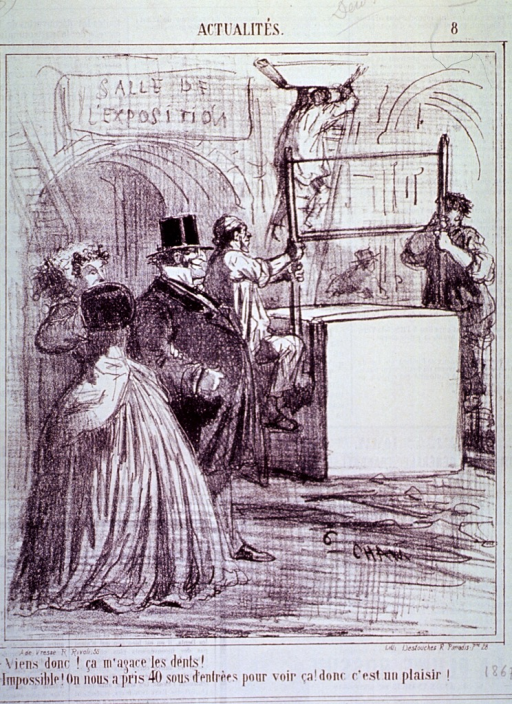<p>A man and a woman watch as workmen cut a large slab of stone; the man, who has no teeth, comments.</p>