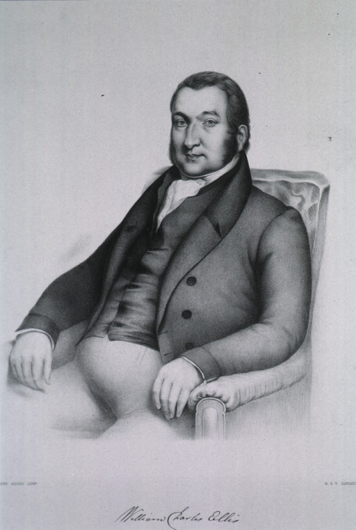 <p>Three-quarter length, seated, left pose, arms over chair.</p>