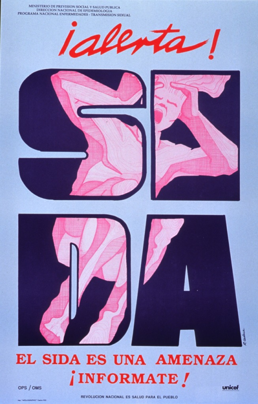 <p>Light blue poster with navy blue and red lettering.  Dominant image is the word &quot;sida&quot; spelled out on two lines in bold navy blue letters.  Divided among the four letters is a bright pink illustration of a crouched person, screaming and holding its head, as if in terror.  Government agencies named at top of poster, sponsor acronyms given at bottom.</p>