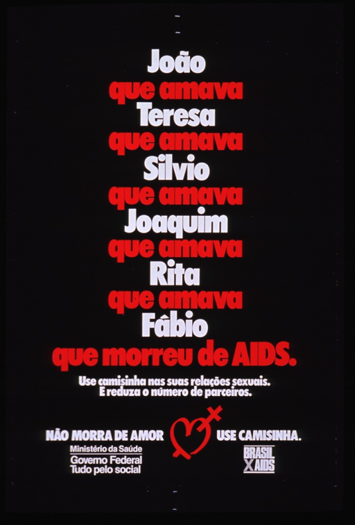 <p>Black poster with red and white lettering.  Title dominates poster, listing a string of five people who were sexual partners before a sixth (Fabio) who died of AIDS.  Note below title urges condom use and reducing the number of partners.  Caption near bottom of poster.  Heart-shaped logo with red &quot;x&quot; between phrases of caption.  Publisher information in lower left corner.  Brasil AIDS logo in lower right corner.</p>