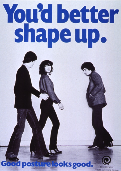 <p>Predominantly black &amp; white poster with black and blue lettering.  Initial title phrase at top of poster.  Visual image is a black and white photo reproduction featuring three young adults, one of whom walks with a rounded back while the others stand straight.  Remaining title text at bottom of poster.  Publisher information in lower right corner.</p>