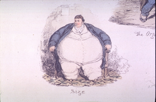 <p>A large man with a very large middle is in a chair.</p>