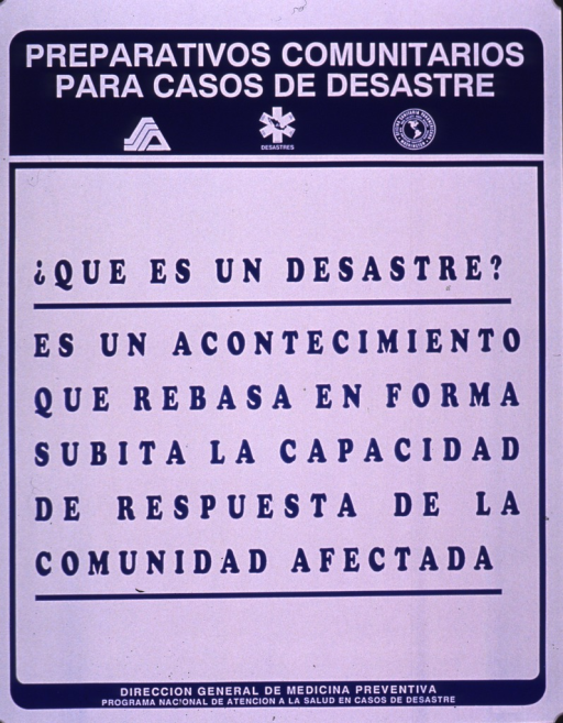 <p>Blue and white poster.  Series information at top of poster.  Title below series statement.  Poster is all text, offering a definition of a disaster.  Publisher information at bottom of poster.</p>