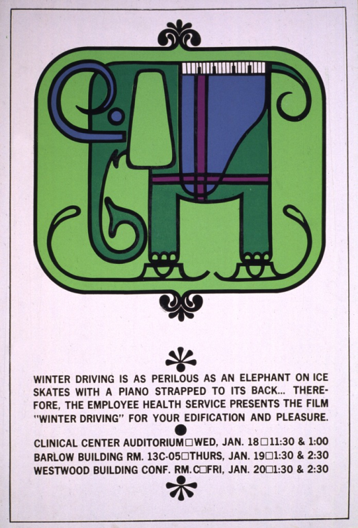 <p>White poster with the top half showing a two-tone green elephant with a blue piano strapped to its back, wearing ice skates.  The elephant is set in a light green square which occupies the top half of the poster.  The remainder of the poster gives the title and caption, along with the dates, times, and locations for the viewing of the film.</p>