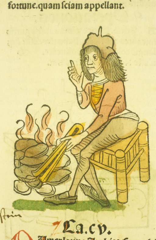 <p>Hand-colored woodcut of a man stoking rocks in a fire.</p>