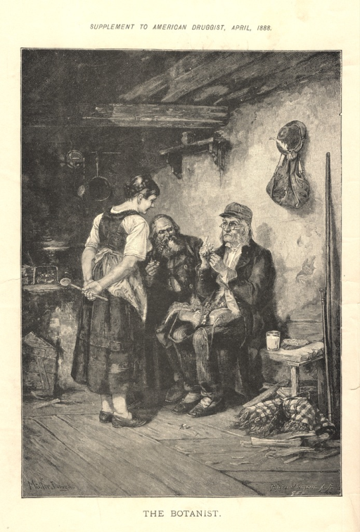 <p>An elderly man sits on a bench next to another man.  In front of them stands a woman wearing an apron.  The room in which they are depicted is sparsely furnished.</p>