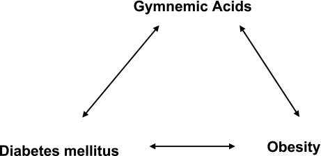 Linkage between obesity, diabetes mellitus and Gymnemic acids [12]