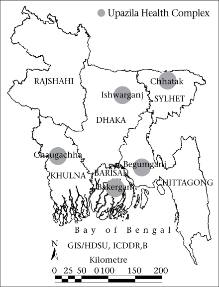 Locations of upazila health complexes