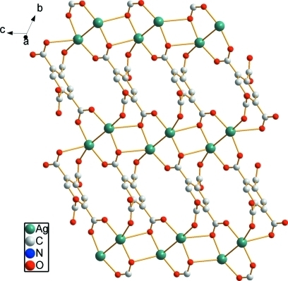A view of the two-dimensional layer in the title compound. H atoms are omitted for clarity.
