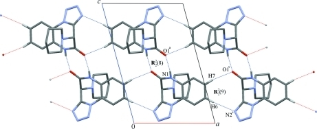 Hydrogen bonding patterns (dotted blue lines) formed by molecule A in 4. Symmetry operations: a, -x + 1, -y, -z + 1; c, x + 1, y, z.