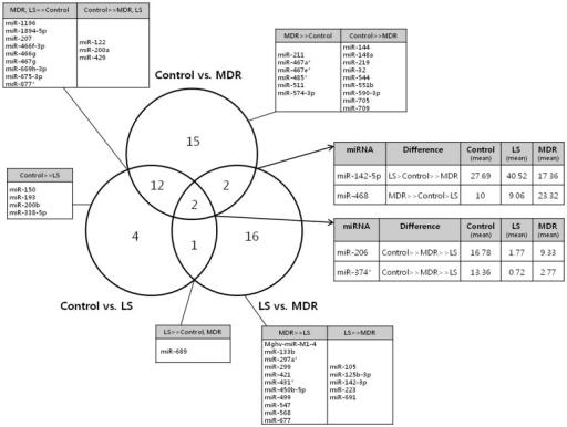 Venn diagram describing mirna expression patterns in ea open i venn diagram describing mirna expression patterns in each groupe venn diagram represents the number ccuart Gallery