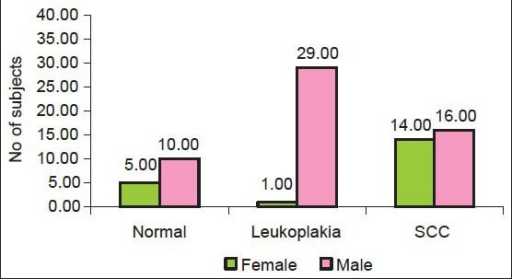 Distribution of study subjects by group and gender